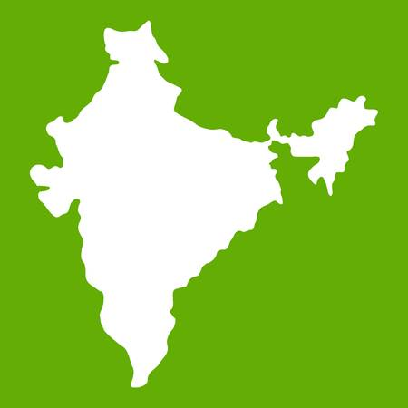 Indian map icon white isolated on green background. Vector illustration