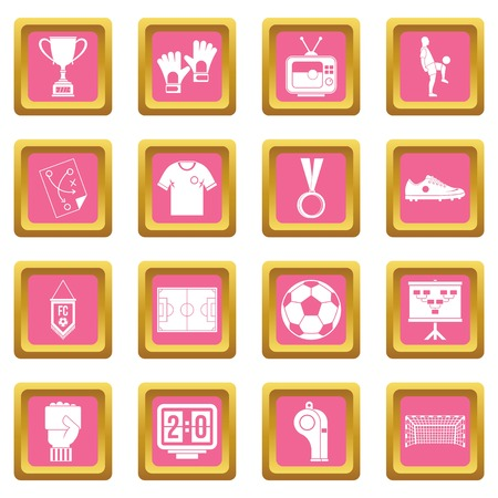 tactics: Soccer football icons set in pink color isolated vector illustration for web and any design
