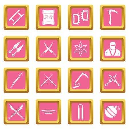 ninja tool: Ninja tools icons set in pink color isolated vector illustration for web and any design