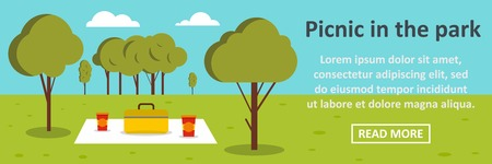 Picnic in the park banner horizontal concept. Flat illustration of picnic in the park banner horizontal vector concept for web