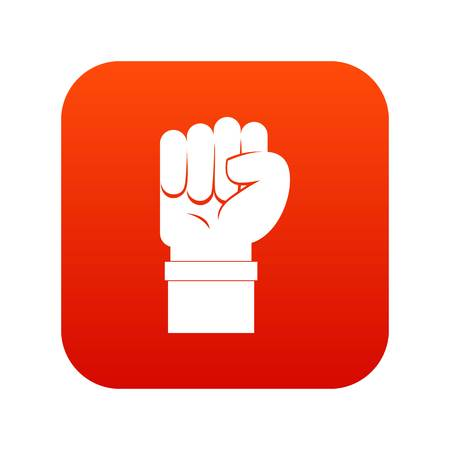 Fist icon digital red for any design isolated on white vector illustration