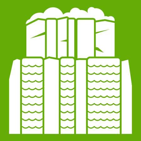 obelisco: Iguazu falls, Argentina icon white isolated on green background. Vector illustration