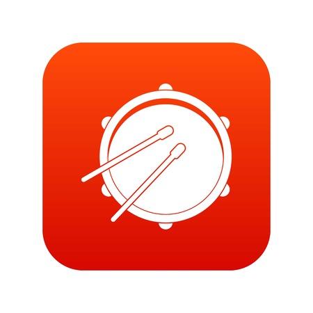 rhythm rhythmic: Drum icon digital red for any design isolated on white vector illustration
