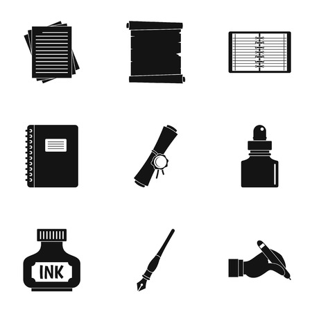 Notebook, pen icon set. Simple set of 9 notebook, pen vector icons for web isolated on white background