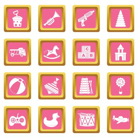 top gun: Different kids toys icons set in pink color isolated vector illustration for web and any design