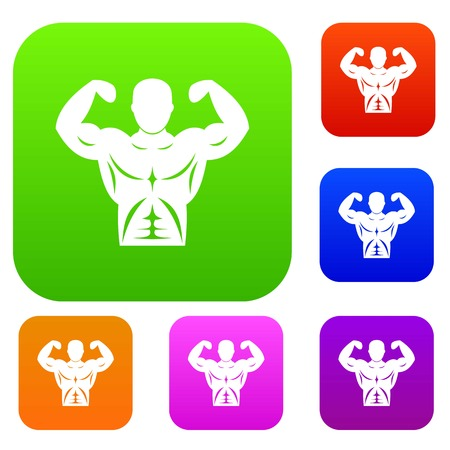 Athletic man torso set icon in different colors isolated vector illustration. Premium collection