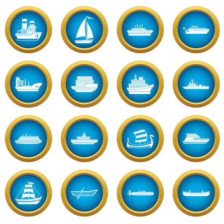 Sea transport icons blue circle set isolated on white for digital marketing