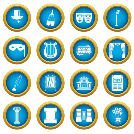 Theater icons blue circle set isolated on white for digital marketing