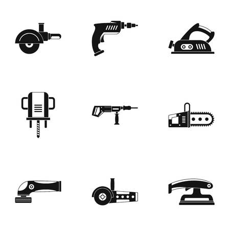 Power electric tool icon set. Simple set of 9 power electric tool vector icons for web isolated on white background Illustration