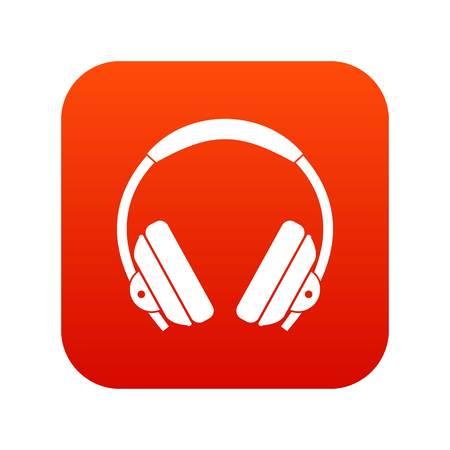白いベクトル図に分離された任意のデザインのヘッドフォン アイコン デジタル赤