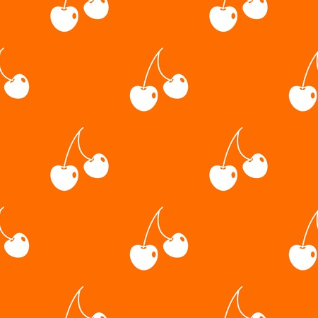 glace: Two cherry berries pattern repeat seamless in orange color for any design. Vector geometric illustration