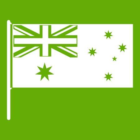 호주 국기 아이콘 흰색 녹색 배경에 고립입니다. 벡터 일러스트 레이 션 일러스트