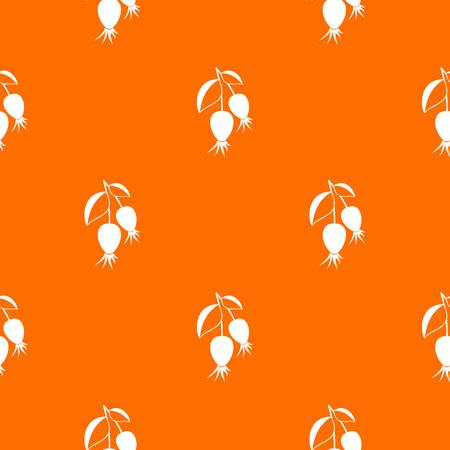 Dogrose berries branch pattern repeat seamless in orange color for any design. Vector geometric illustration