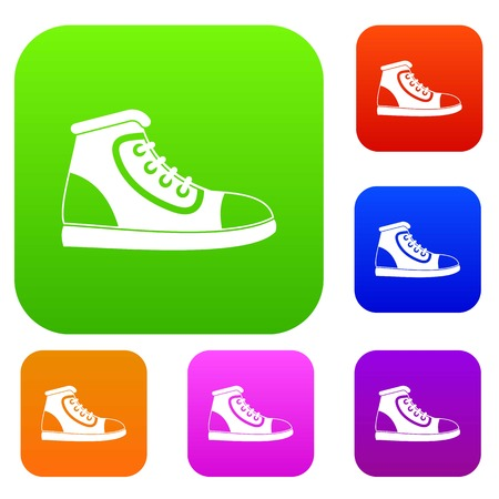 athletic wear: Athletic shoe set icon in different colors isolated vector illustration. Premium collection