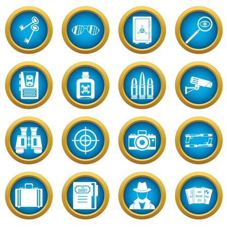 Spy tools icons blue circle set isolated on white for digital marketing Illustration