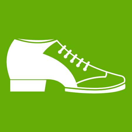 Tango shoe icon white isolated on green background. Vector illustration
