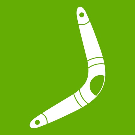 Boomerang icon white isolated on green background. Vector illustration Ilustrace
