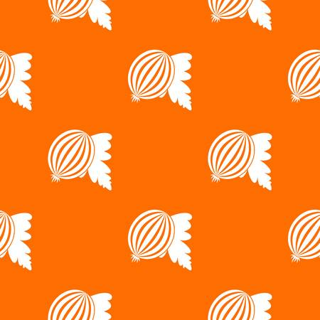 Gooseberry with leaves pattern repeat seamless in orange color for any design. Vector geometric illustration Illustration
