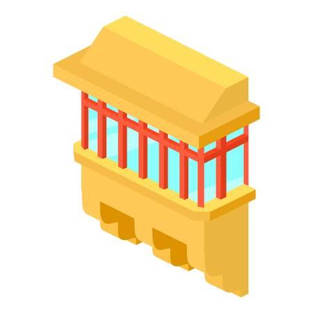Yellow balcony icon. Isometric illustration of yellow balcony vector icon for web