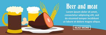 Beer and meat banner horizontal concept. Flat illustration of beer and meat banner horizontal vector concept for web