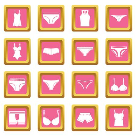 Underwear items icons set in pink color isolated vector illustration for web and any design
