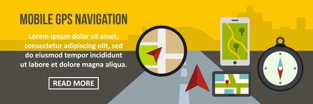 routing: Mobile gps navigation banner horizontal concept. Flat illustration of mobile gps navigation banner horizontal vector concept for web Illustration