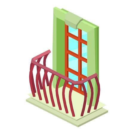 Facade balcony icon. Isometric illustration of facade balcony vector icon for web