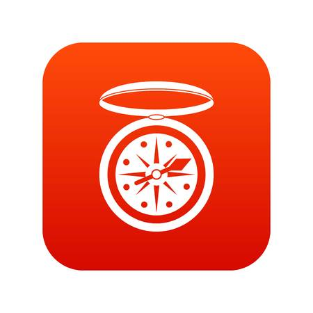 compass rose: Compass icon digital red for any design isolated on white vector illustration