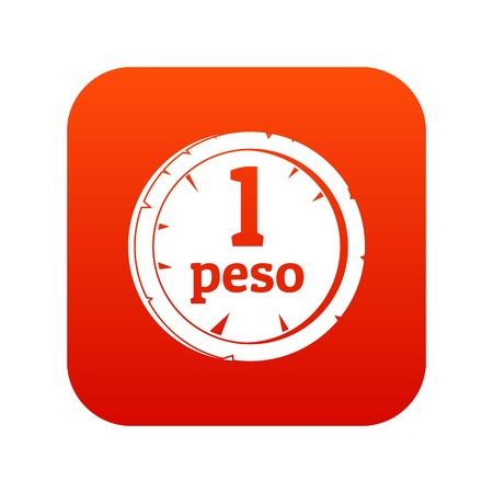 Peso icon digital red for any design isolated on white vector illustration