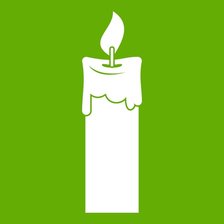 Candle icon white isolated on green background. Vector illustration