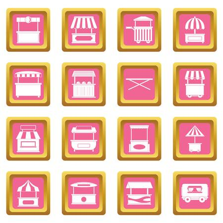 Street food truck icons set in pink color isolated vector illustration for web and any design Illustration