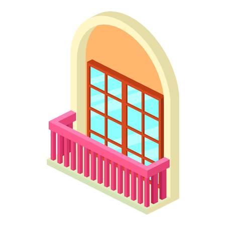 Narrow balcony icon. Isometric illustration of narrow balcony vector icon for web
