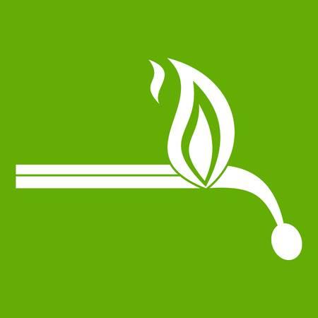 Burning match icon white isolated on green background. Vector illustration