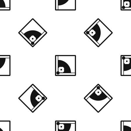 Baseball field pattern repeat seamless in black color for any design. Vector geometric illustration Illustration