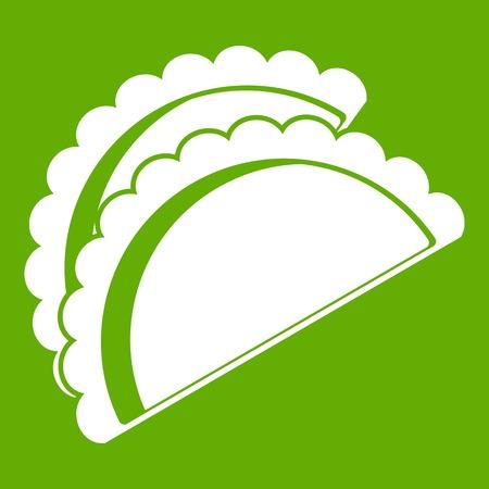 Empanadas de pollo icon white isolated on green background. Vector illustration Stock Vector - 84556671