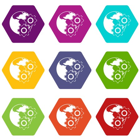 World planet and gears icon set many color hexahedron isolated on white vector illustration Illustration