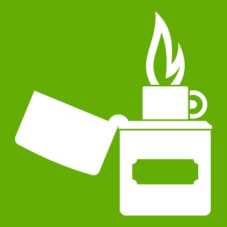 encendedores: Lighter icon white isolated on green background. Vector illustration