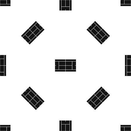 Tennis court pattern repeat seamless in black color for any design. Vector geometric illustration Illustration