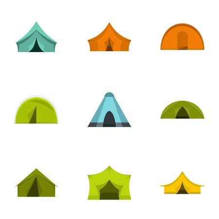 temporary: Outdoor tent form icon set. Flat set of 9 outdoor tent form vector icons for web isolated on white background Illustration