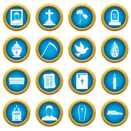 Funeral icons blue circle set isolated on white for digital marketing Illustration