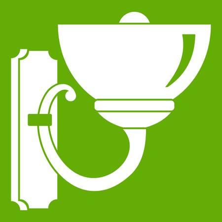 Wall lamp icon green vector illustration. Illustration