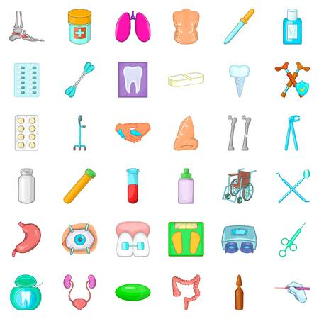 Malady icons set, cartoon style vector illustration. Stock Vector - 84578882