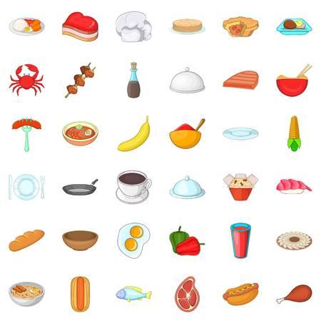 Restaurant icons set, cartoon style vector illustration. Illustration