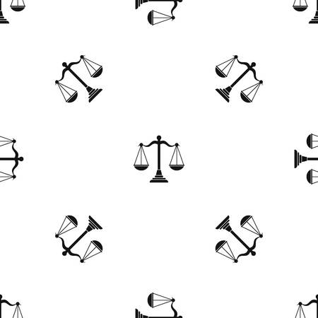 scale of justice: Balance scale pattern seamless black Illustration
