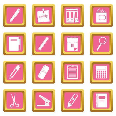 Stationery symbols icons set in pink color isolated vector illustration for web and any design.