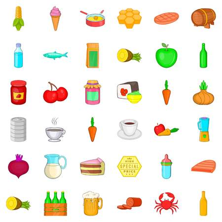 Nutrition icons set. Cartoon style of 36 nutrition vector icons for web isolated on white background.