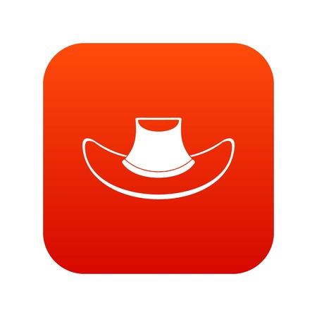 Cowboy hat icon digital red Illustration