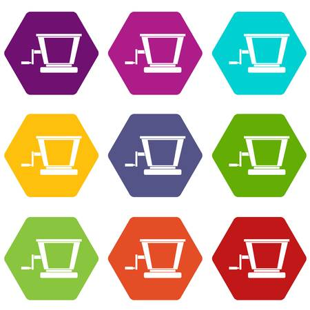 Old grape juicer icon set color hexahedron
