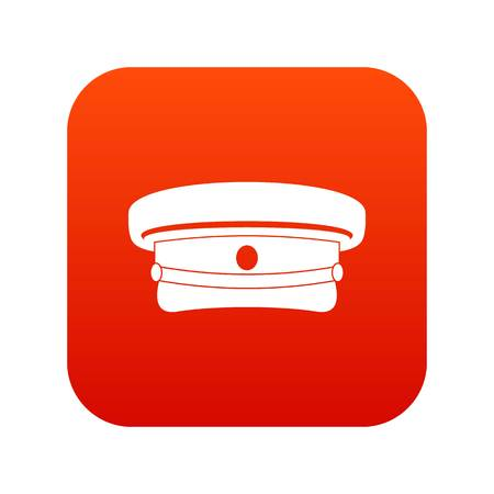 Military hat icon digital red