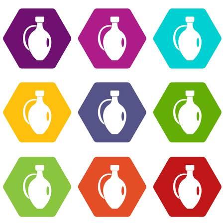 earthenware: Clay jug icon set color hexahedron